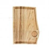 Ξύλινο πιάτο καστανιάς 32×22 με λούκι & θέση για ντιπάκι
