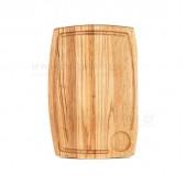 Ξύλινο πιάτο καστανιάς 38×28 με λούκι & θέση για ντιπάκι