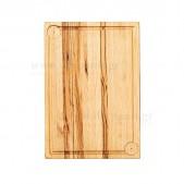 Ξύλινο πλατώ καστανιάς 38×28 με λούκι & θέσεις για 2 ντιπάκια